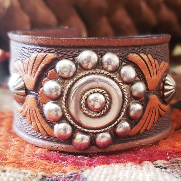 Handmade Italian Leather With Navajo Silver Conchos RM418